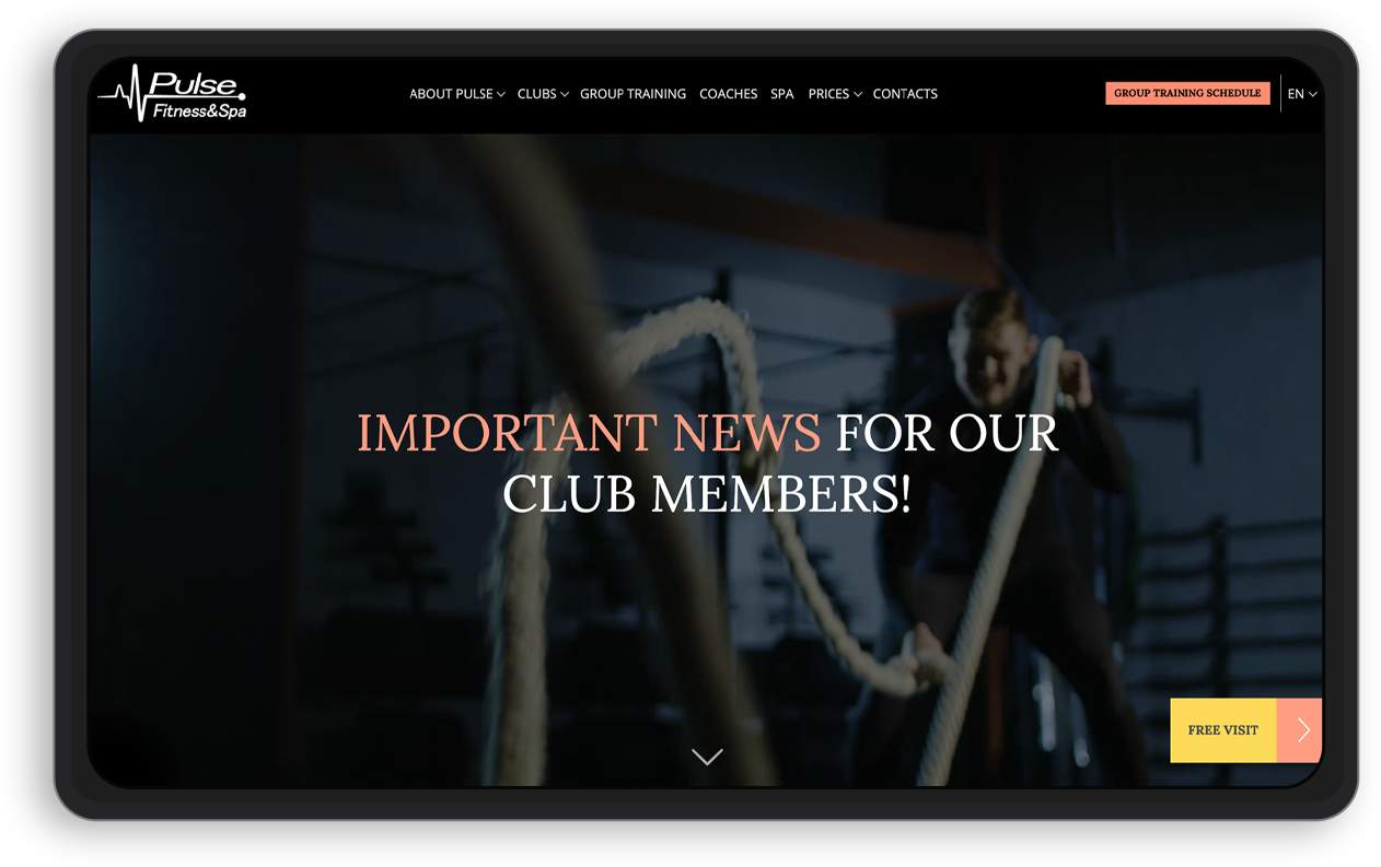 Pulse Fitness-home-page